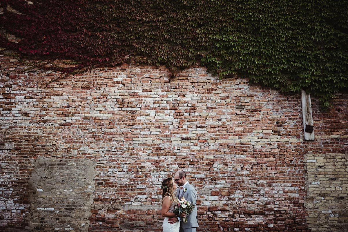 Bride Groom Brick Wall