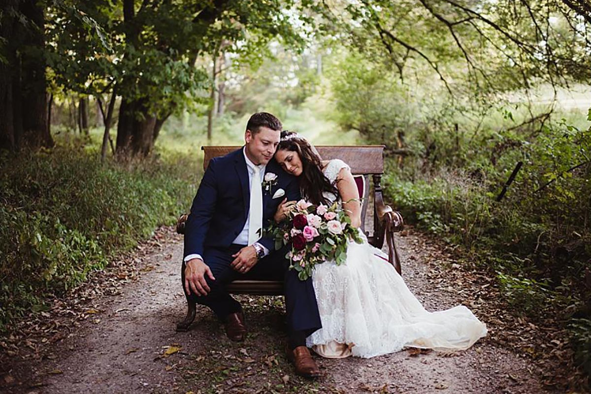 Bride Groom Bench on Path