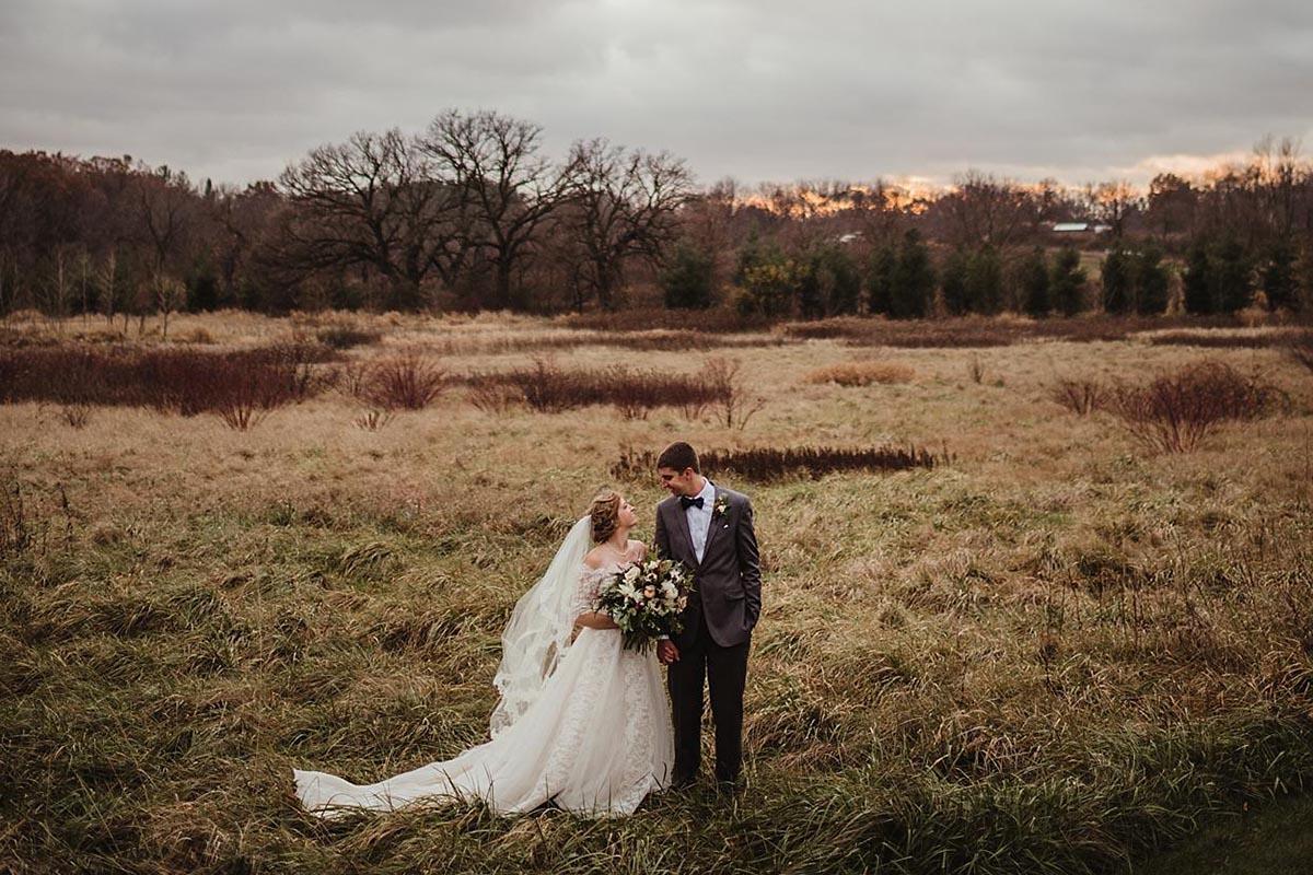 Bride Groom Field at Sunset