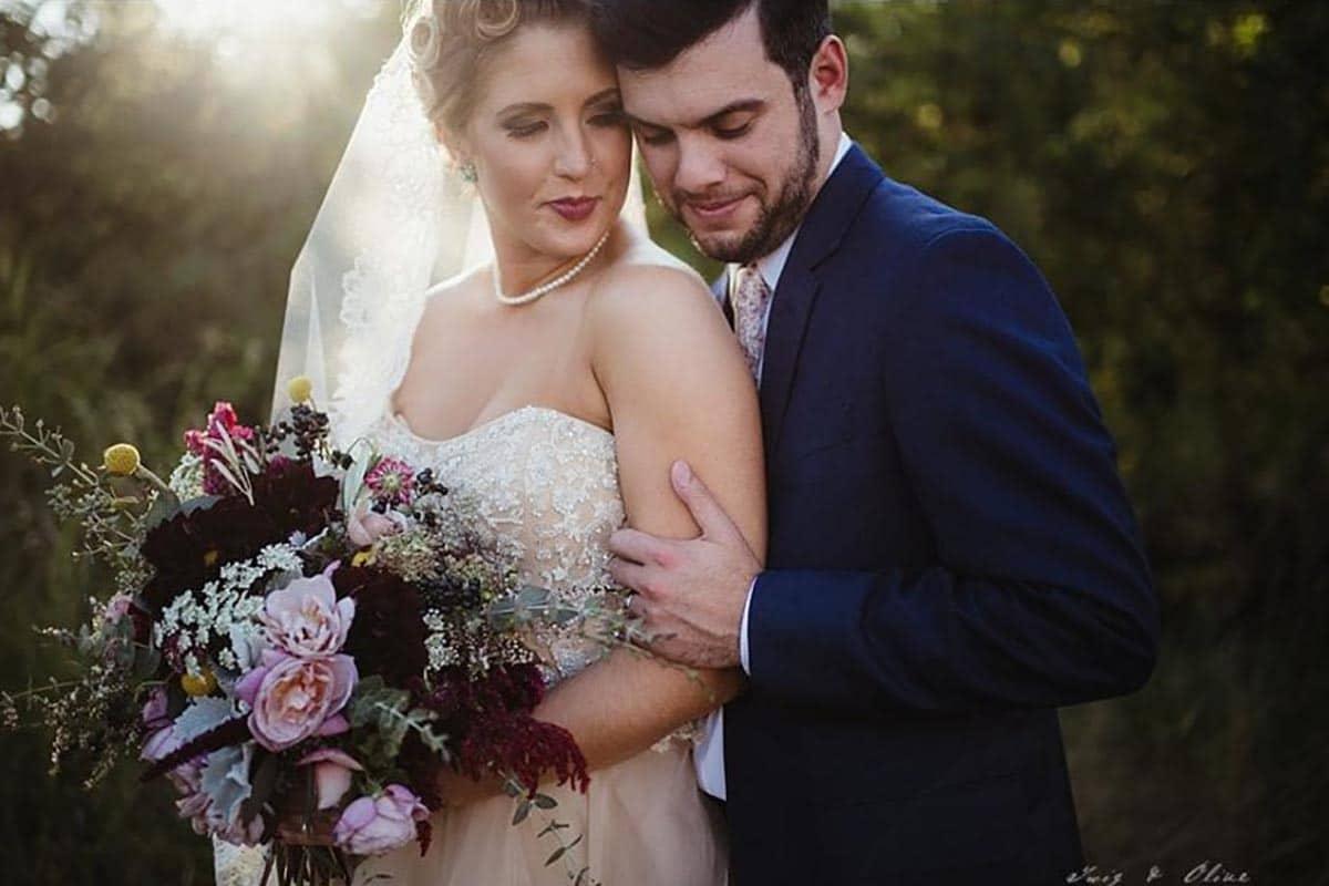 Close Up Bride Groom Bouquet