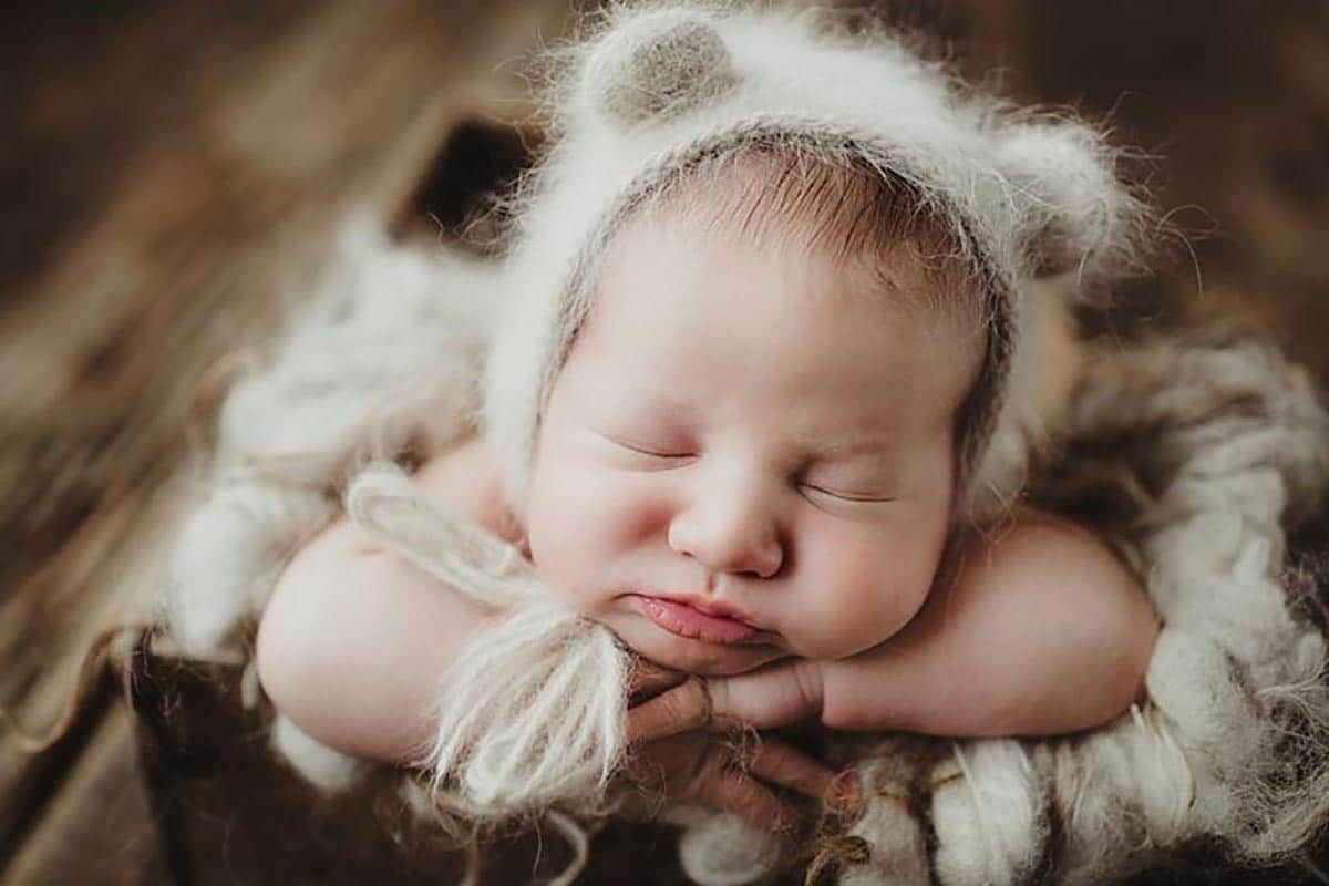 Newborn in Fuzzy Bear Hat