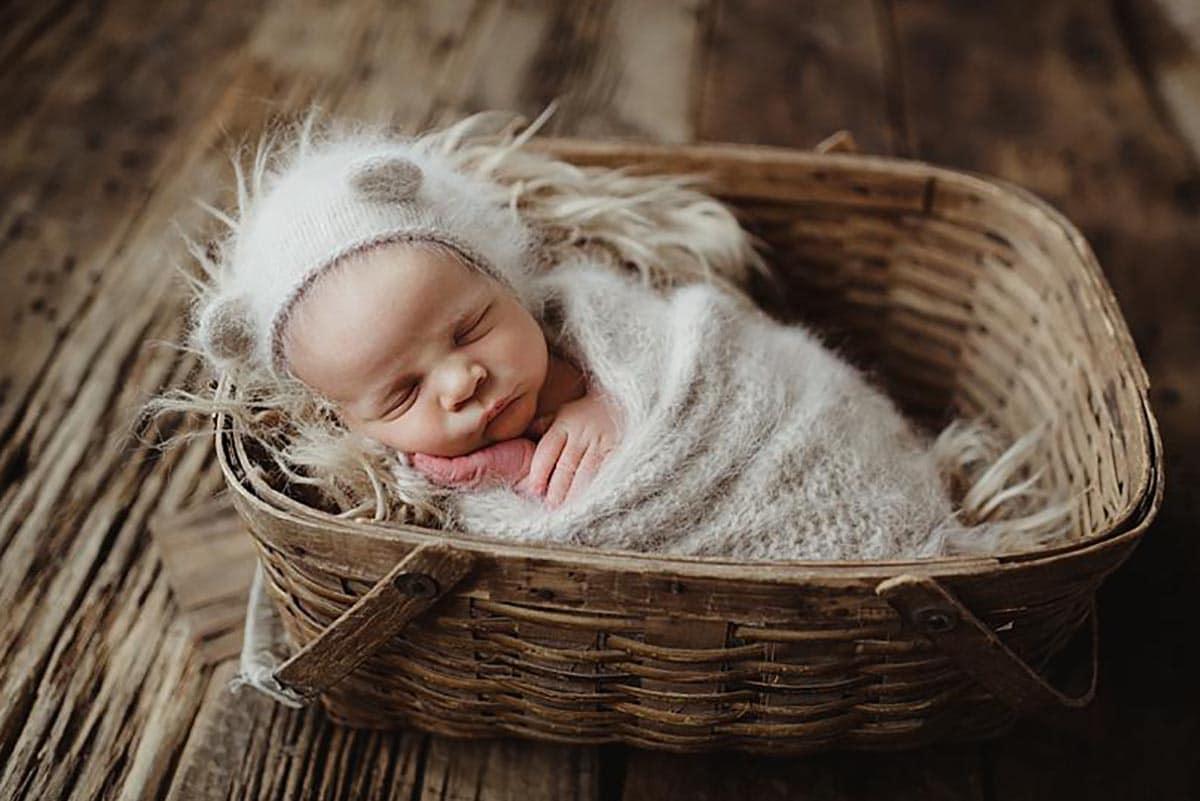 Newborn Boy in Basket Fuzzy Ear Hat