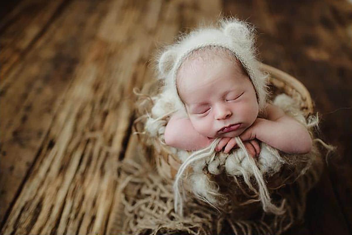 Newborn Boy Fuzzy Ear Hat
