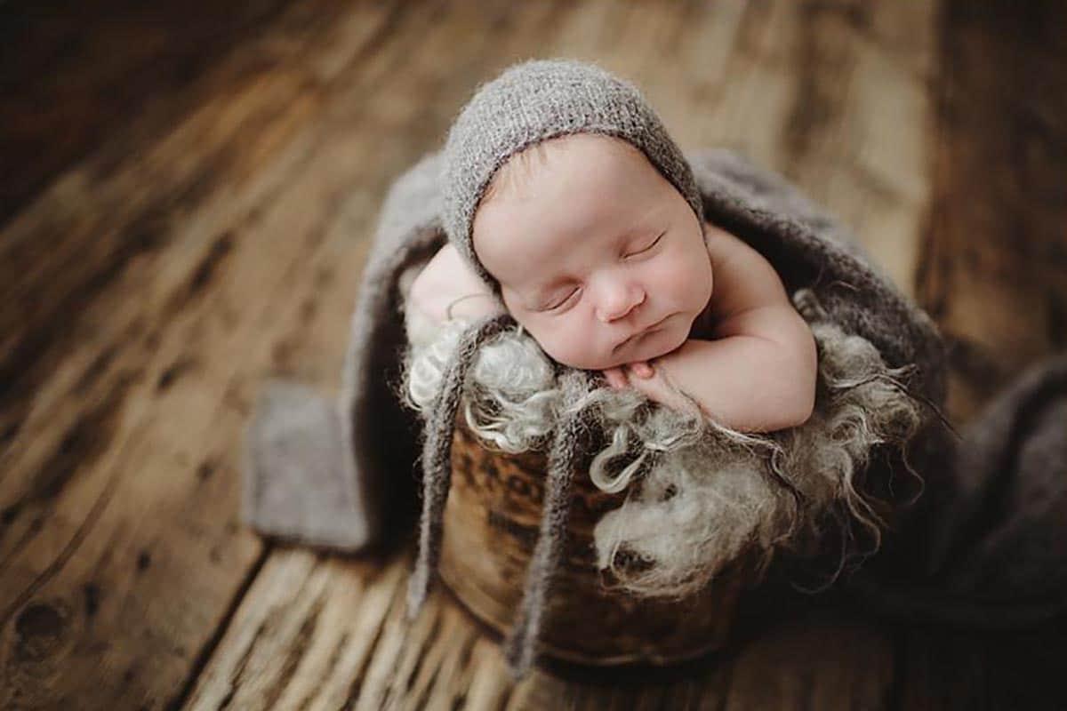 Newborn in Grey Bonnet