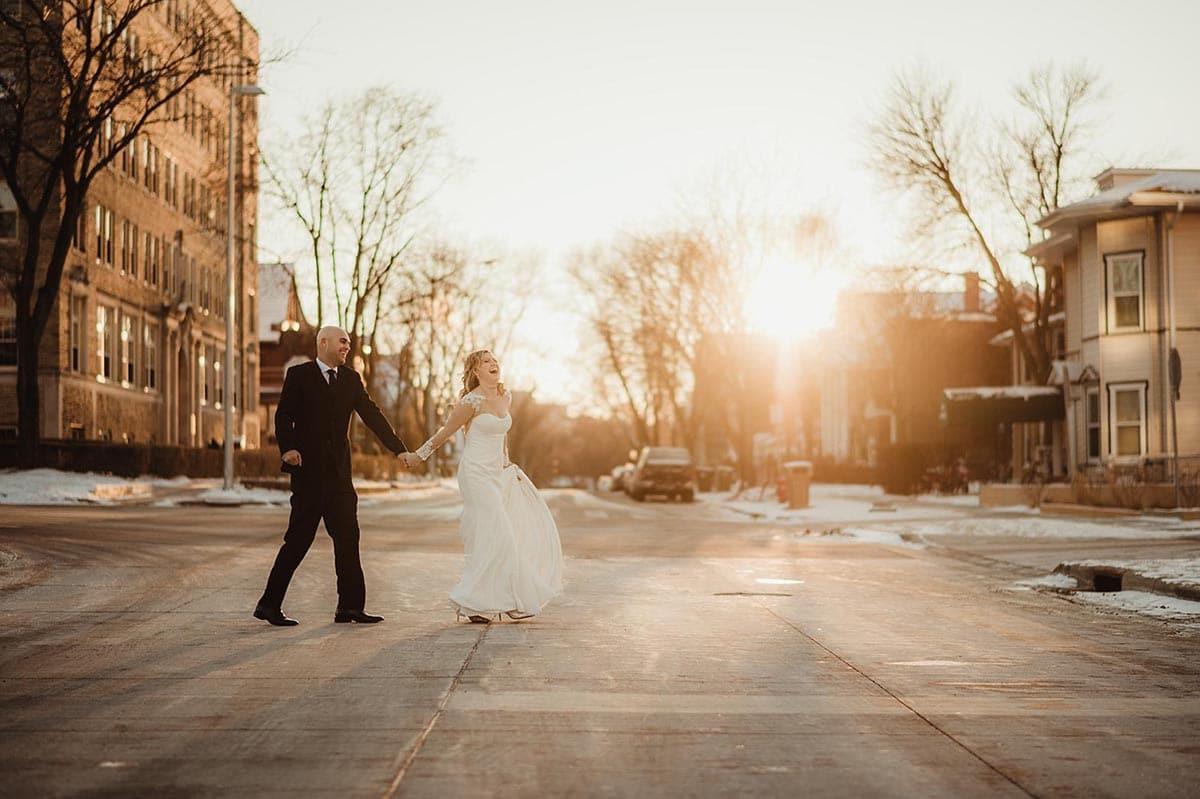 Bride Groom Walking Across Street