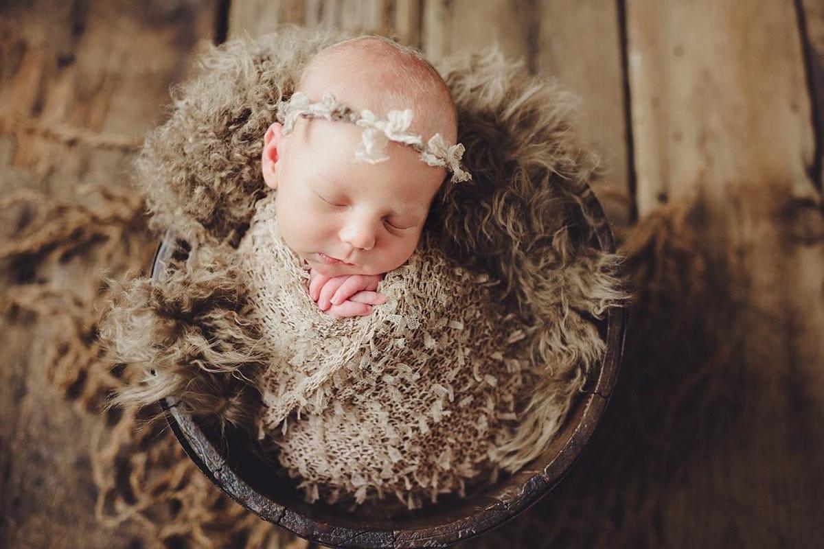 Newborn Girl Tan Bow Headband