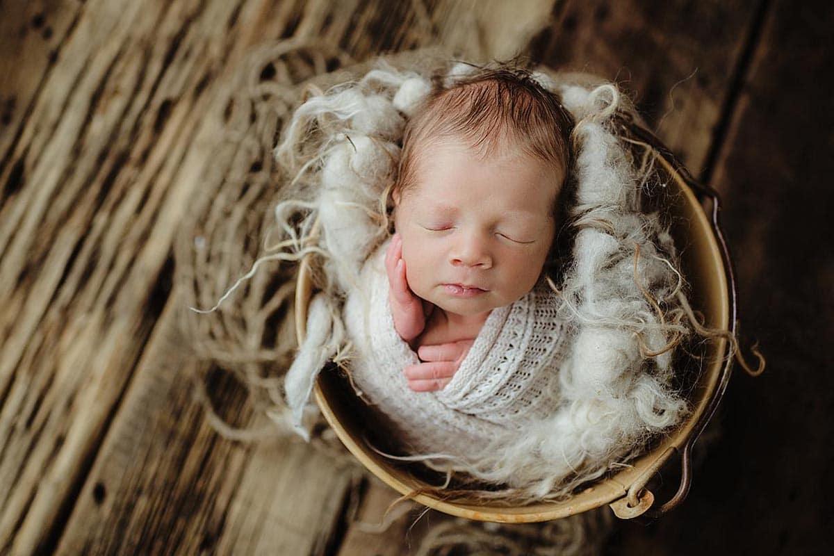 Newborn Boy in Wood Bucket