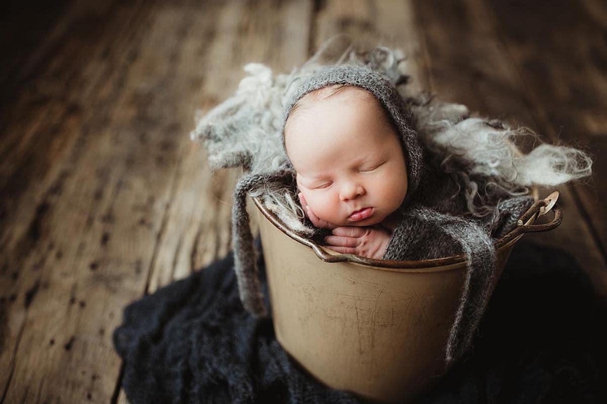 Newborn Boy Grey Bonnet