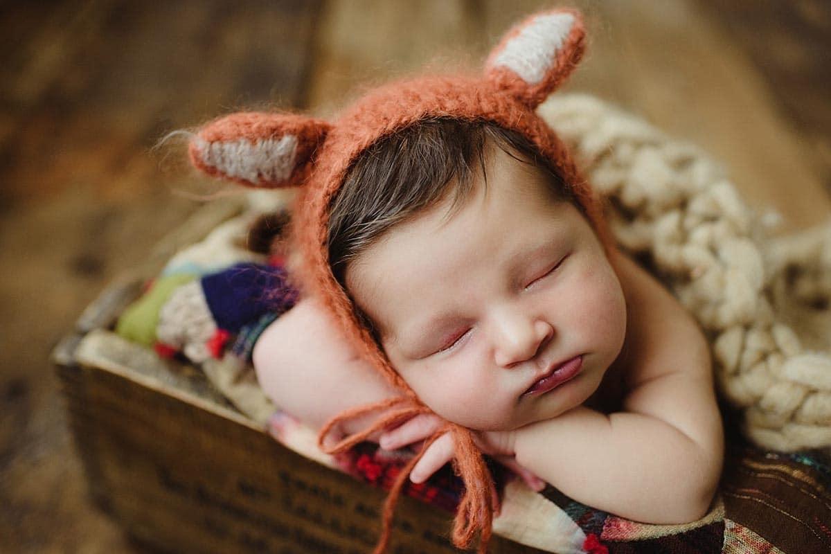 Newborn Boy in Fox Hat