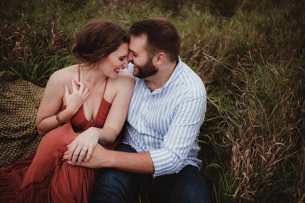 Engagement Couple Snuggling