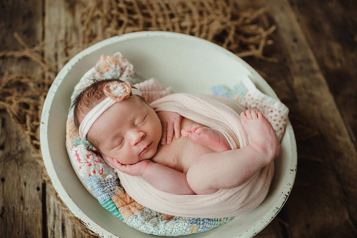 Newborn Girl Peach Mint Colors