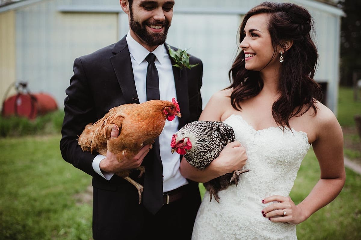 Bride Groom Holding Chickens