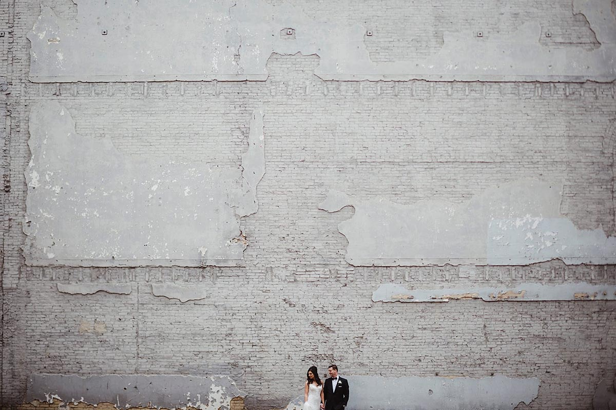 Bride Groom Gray Cement Wall