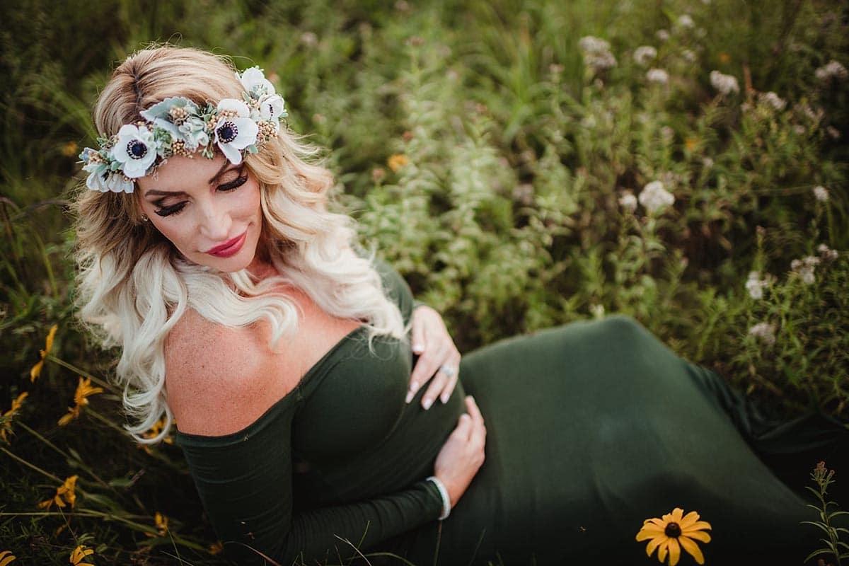 Pregnant Woman Floral Crown Green Dress