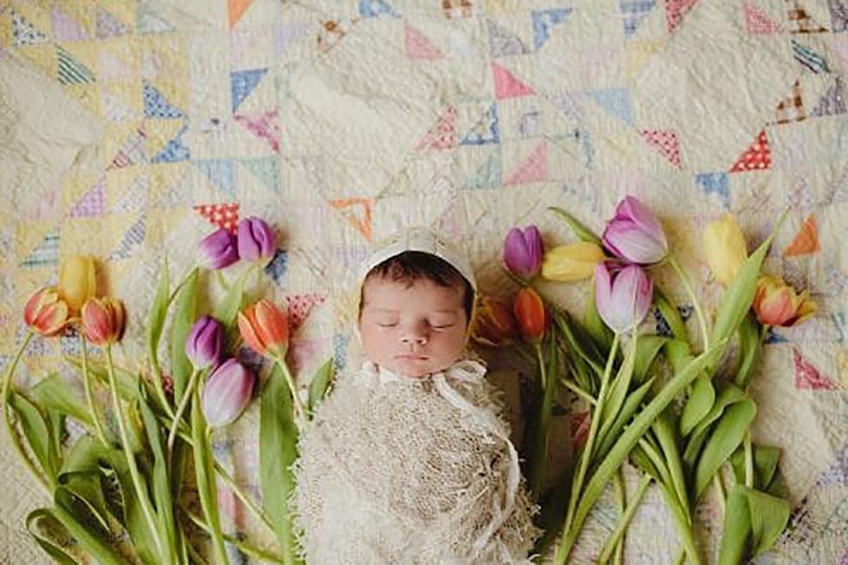 Newborn Girl Spring Tulips