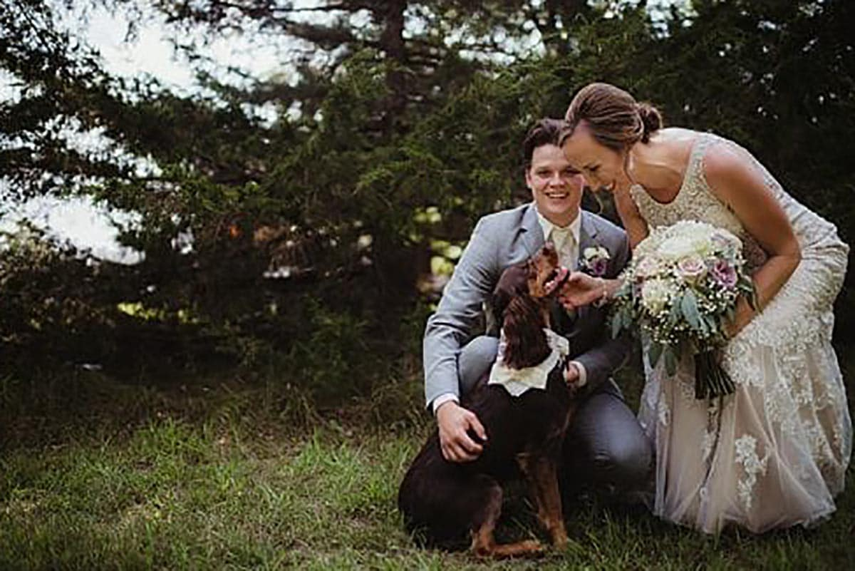 Bride Groom with Dog