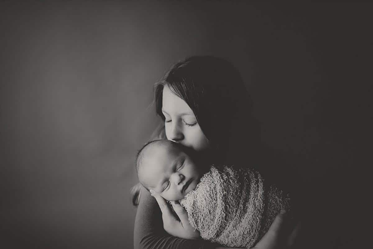 Black and White Image Baby Snuggled