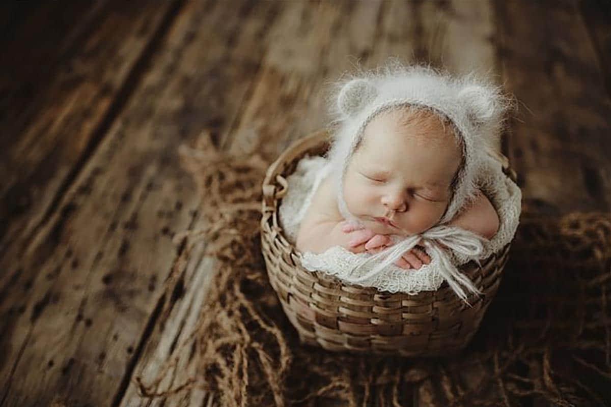 Newborn Boy in Fuzzy Eared Hat