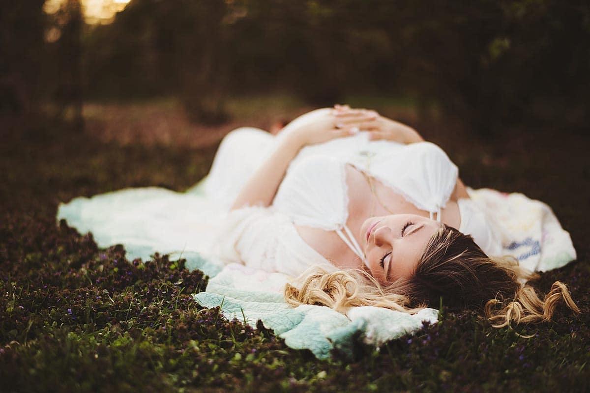 Pregnant Woman on Blanket