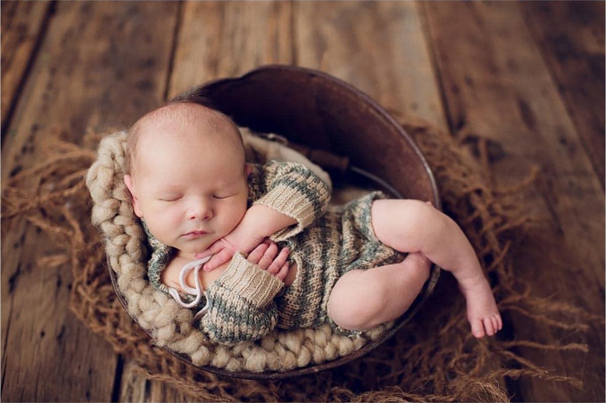 Newborn Boy in Bowl