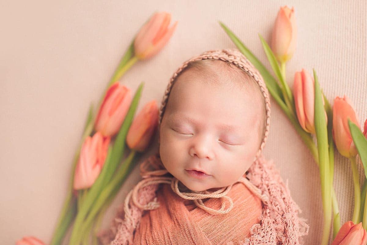 Newborn Girl Peach Tulips