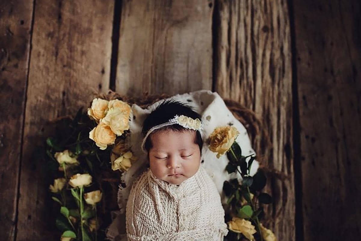 Newborn Girl Yellow Blooms