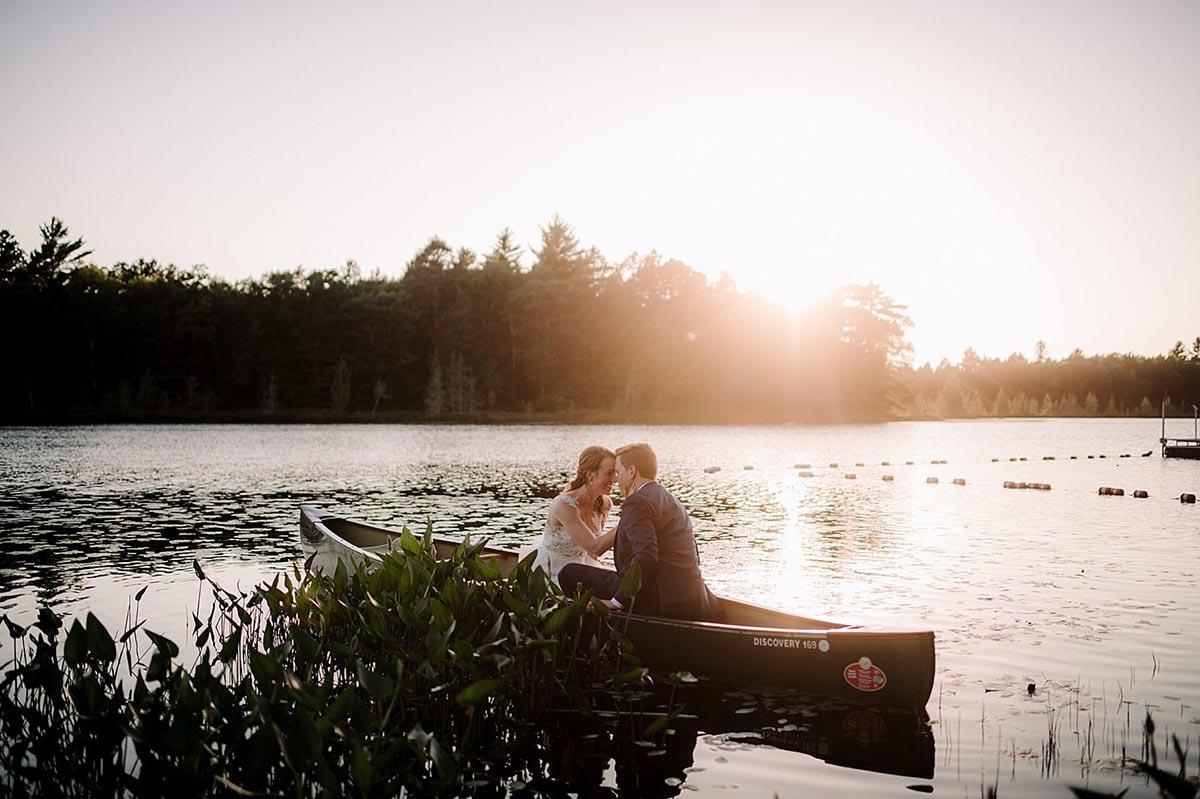 Bride Groom in Boat Sunset
