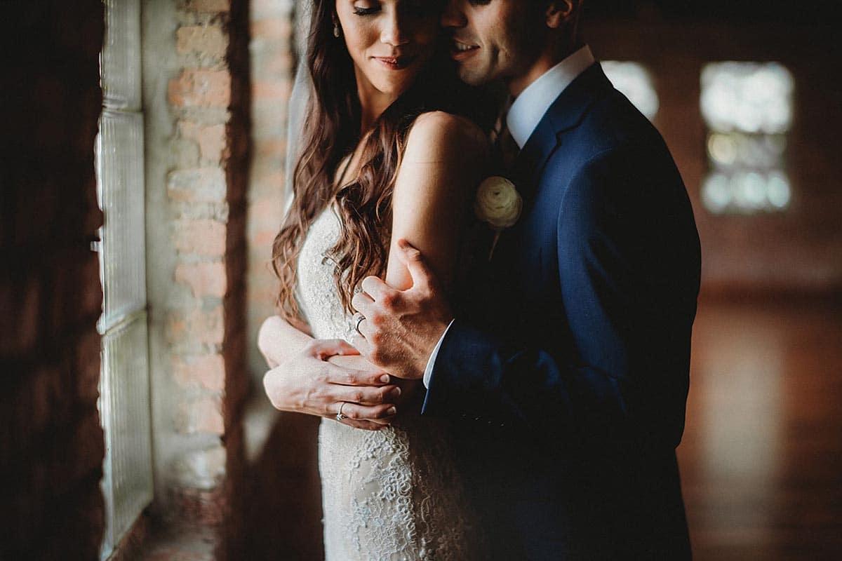 Close Up Bride Groom Snuggled