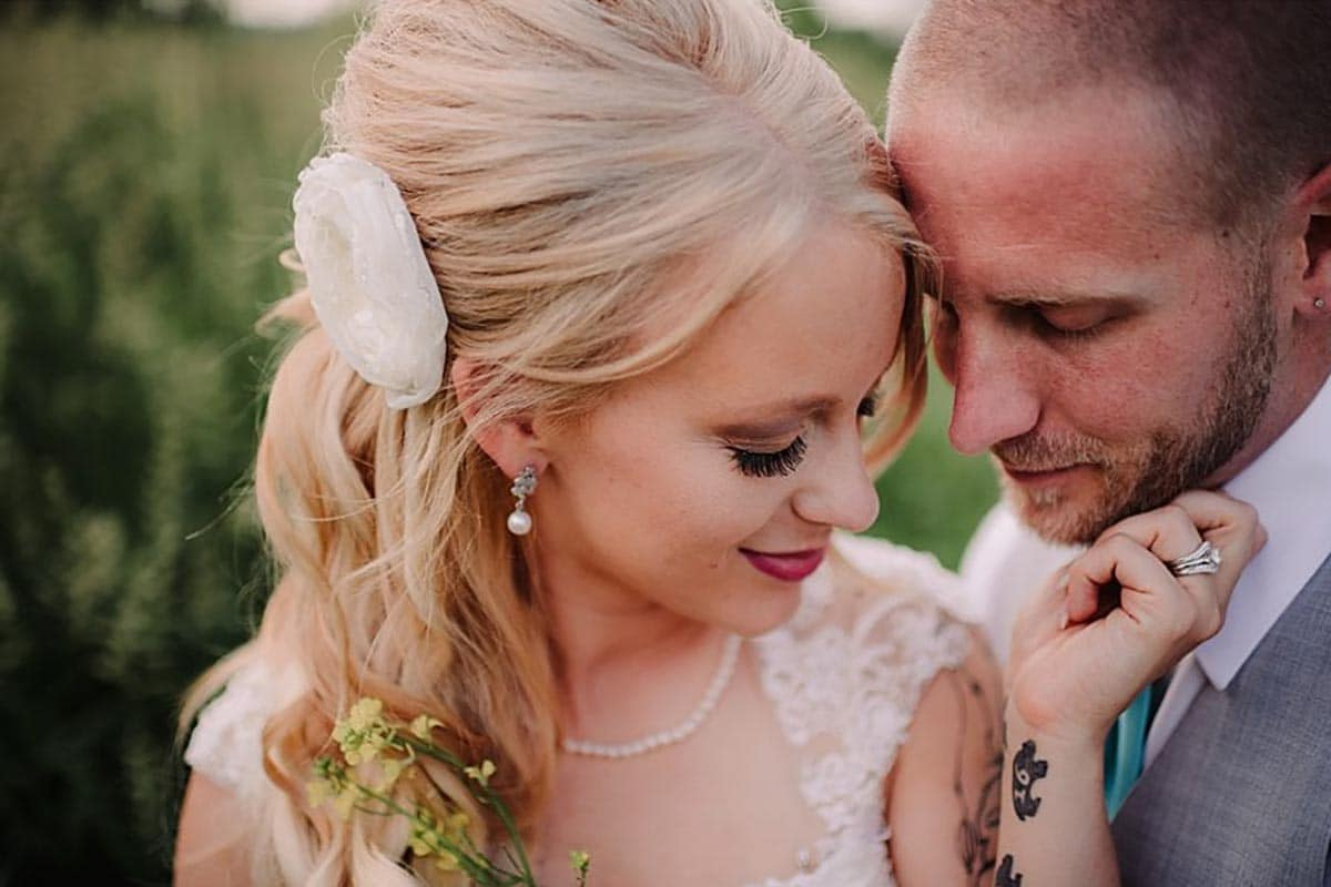 Close Up Bride Holding Groom's Chin