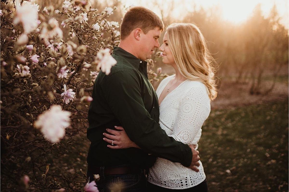 Couple Hugging Sunset