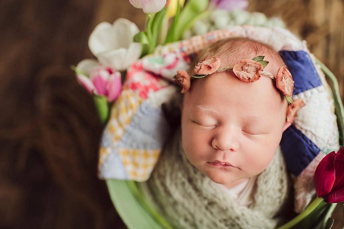 Newborn Girl in Bowl Floral Headband