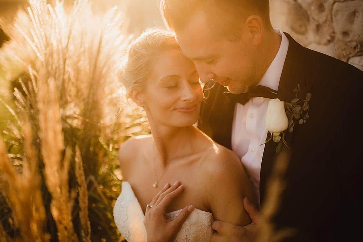 Bride Groom Close Up Sunset