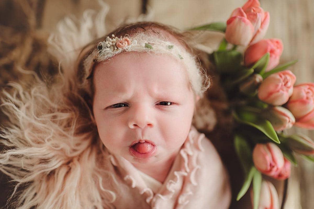 Newborn Sticking Tongue Out
