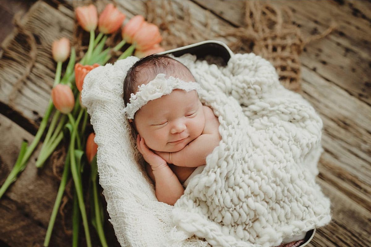 Newborn Girl with Tulips