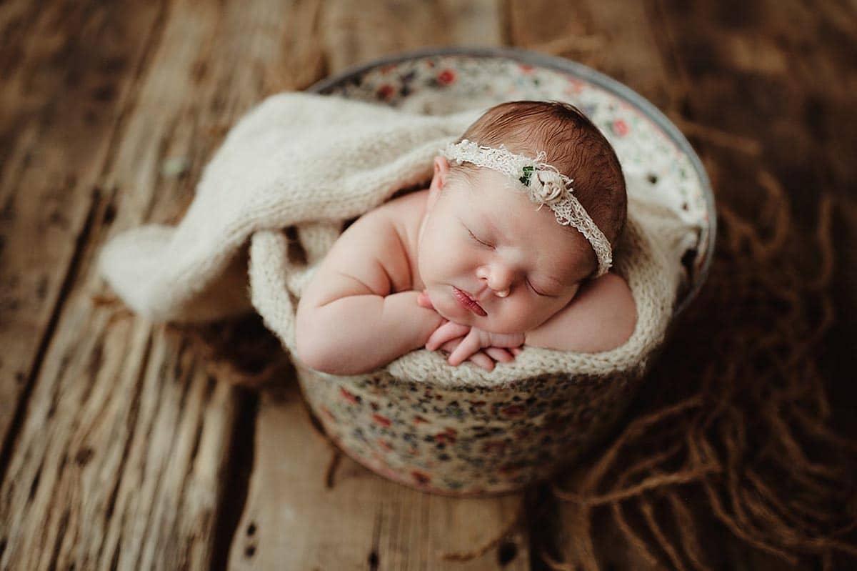 Newborn Girl in Floral Bucket