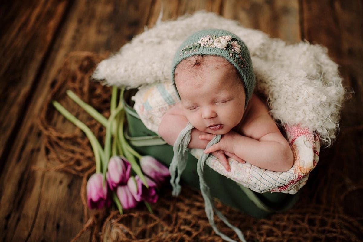 Newborn Girl in Bonnet