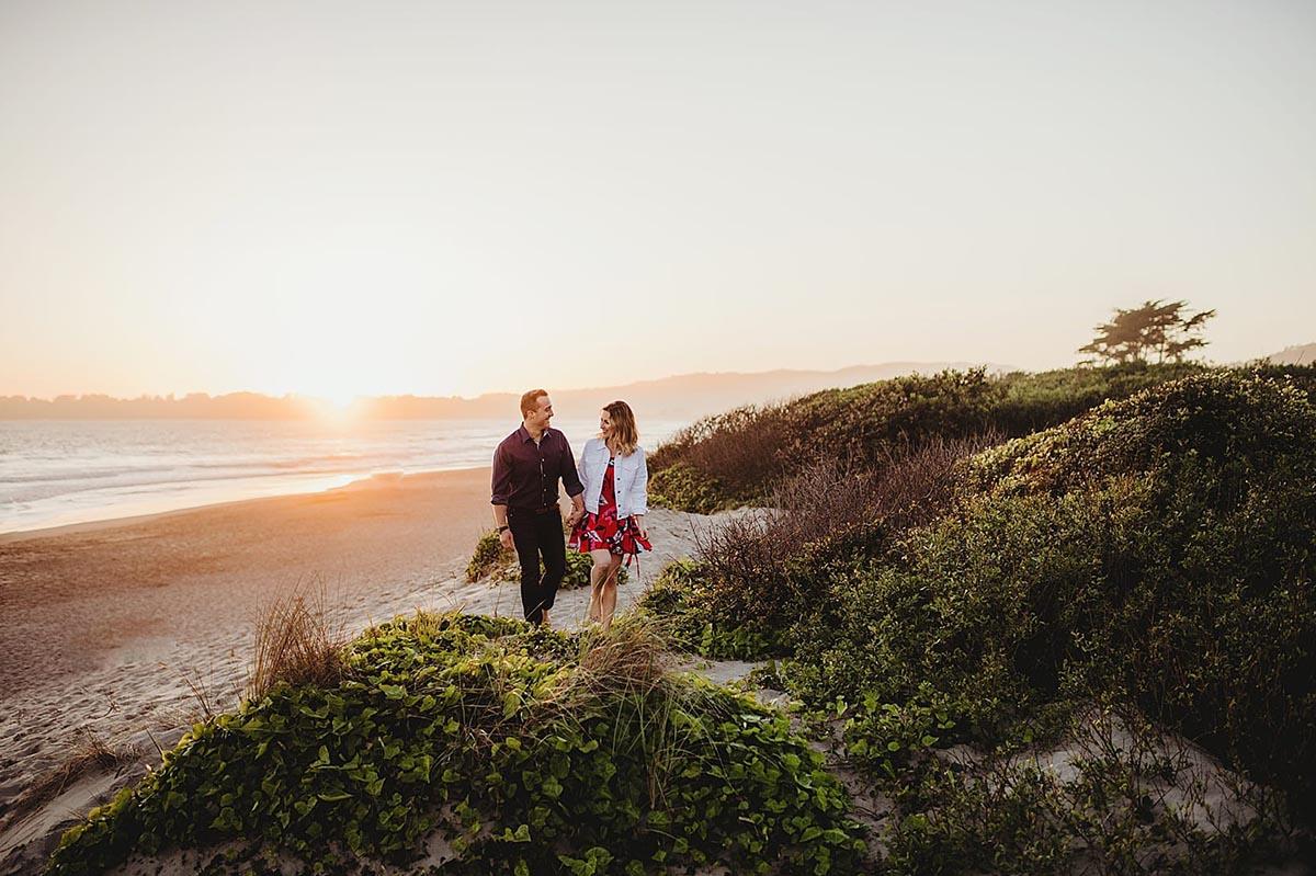 Sunset Couple Walking on Beach