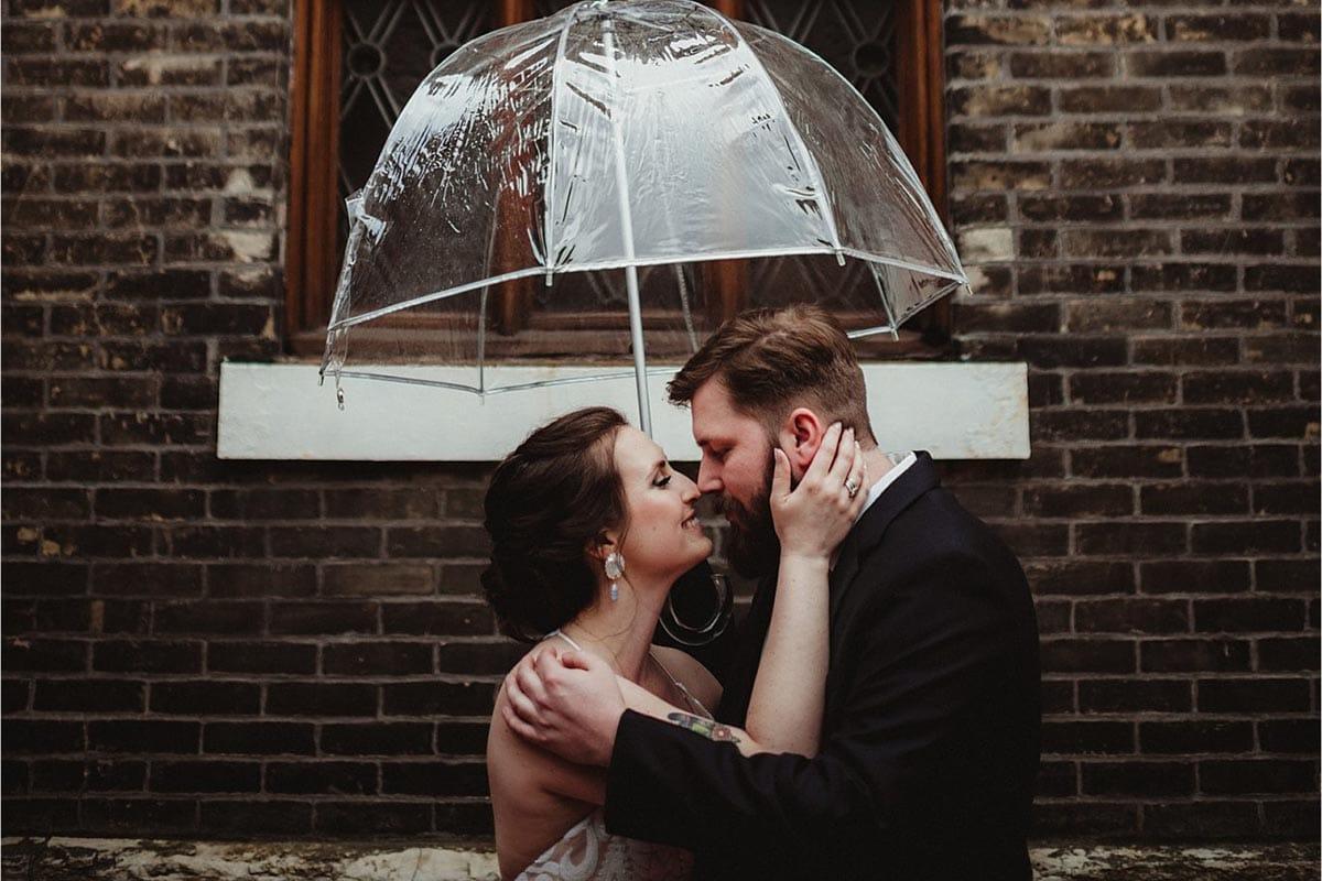 Bride Groom in Rain Umbrella