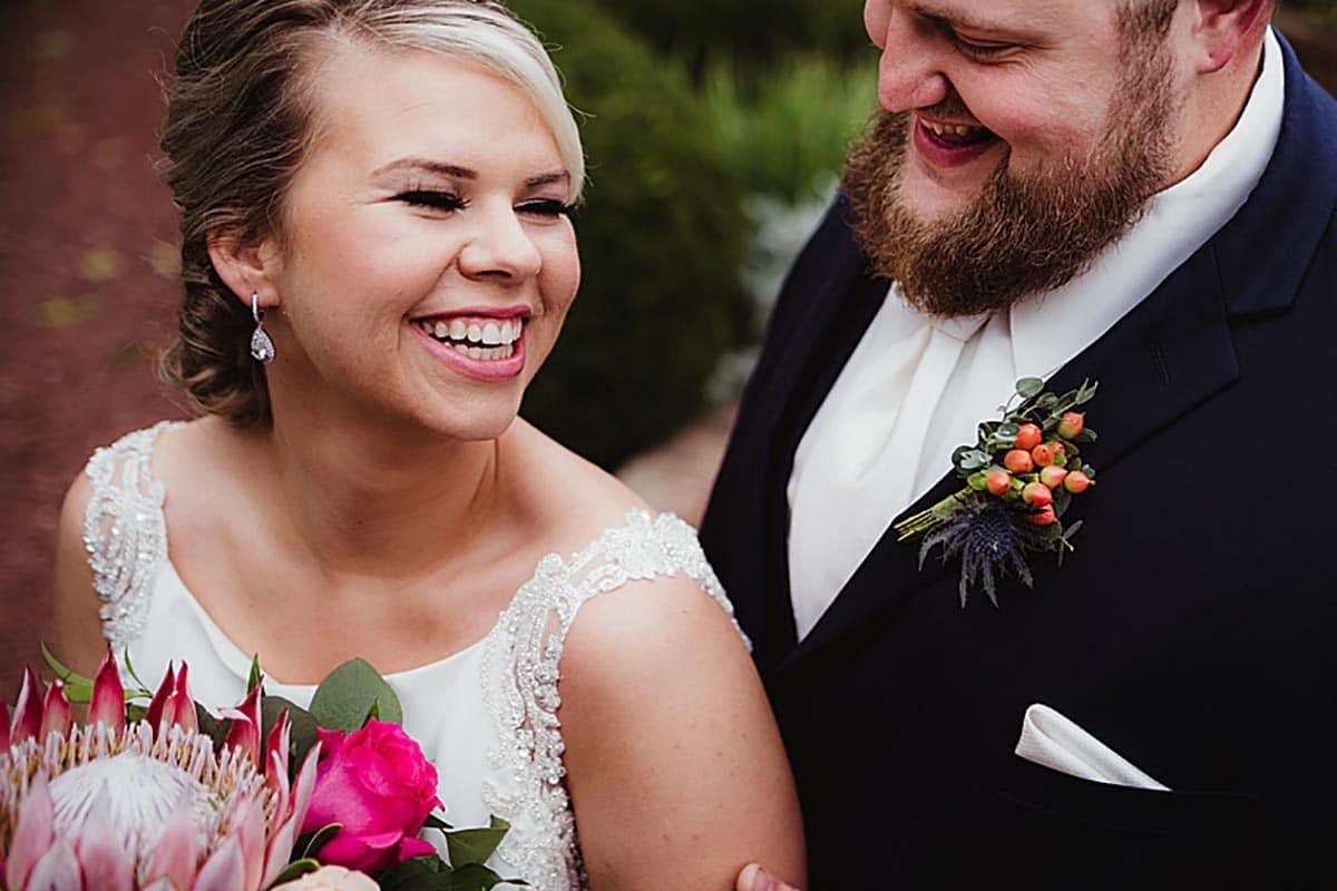 Close Up Bride Groom Smiling