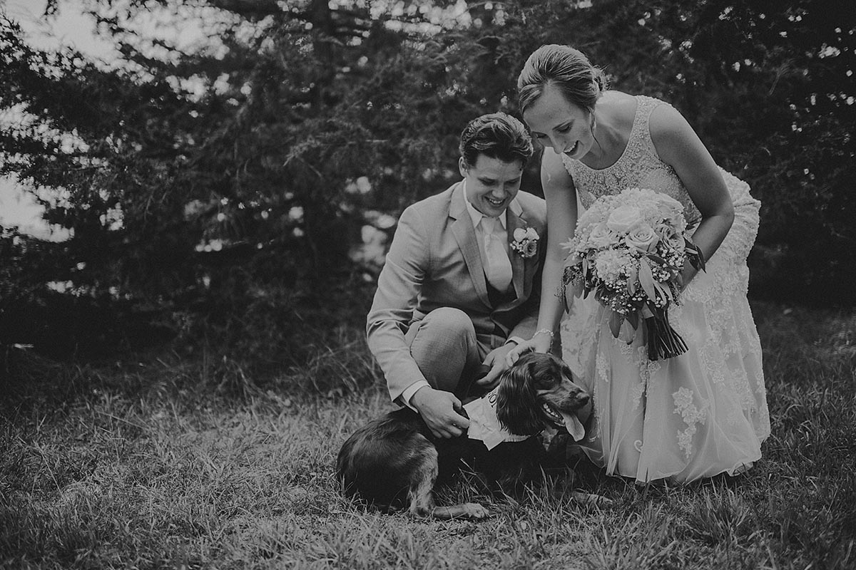 Black and White Image Couple with Dog
