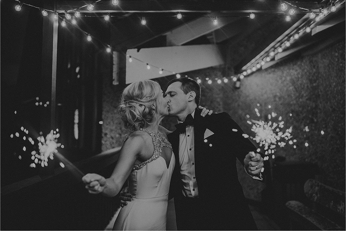 Black and White Image Bride Groom Sparklers