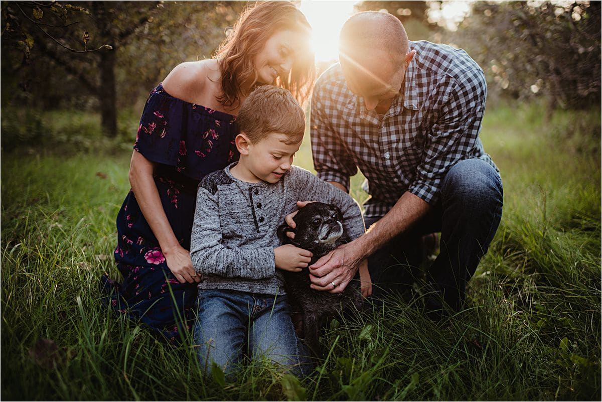 Sunset Family with Dog