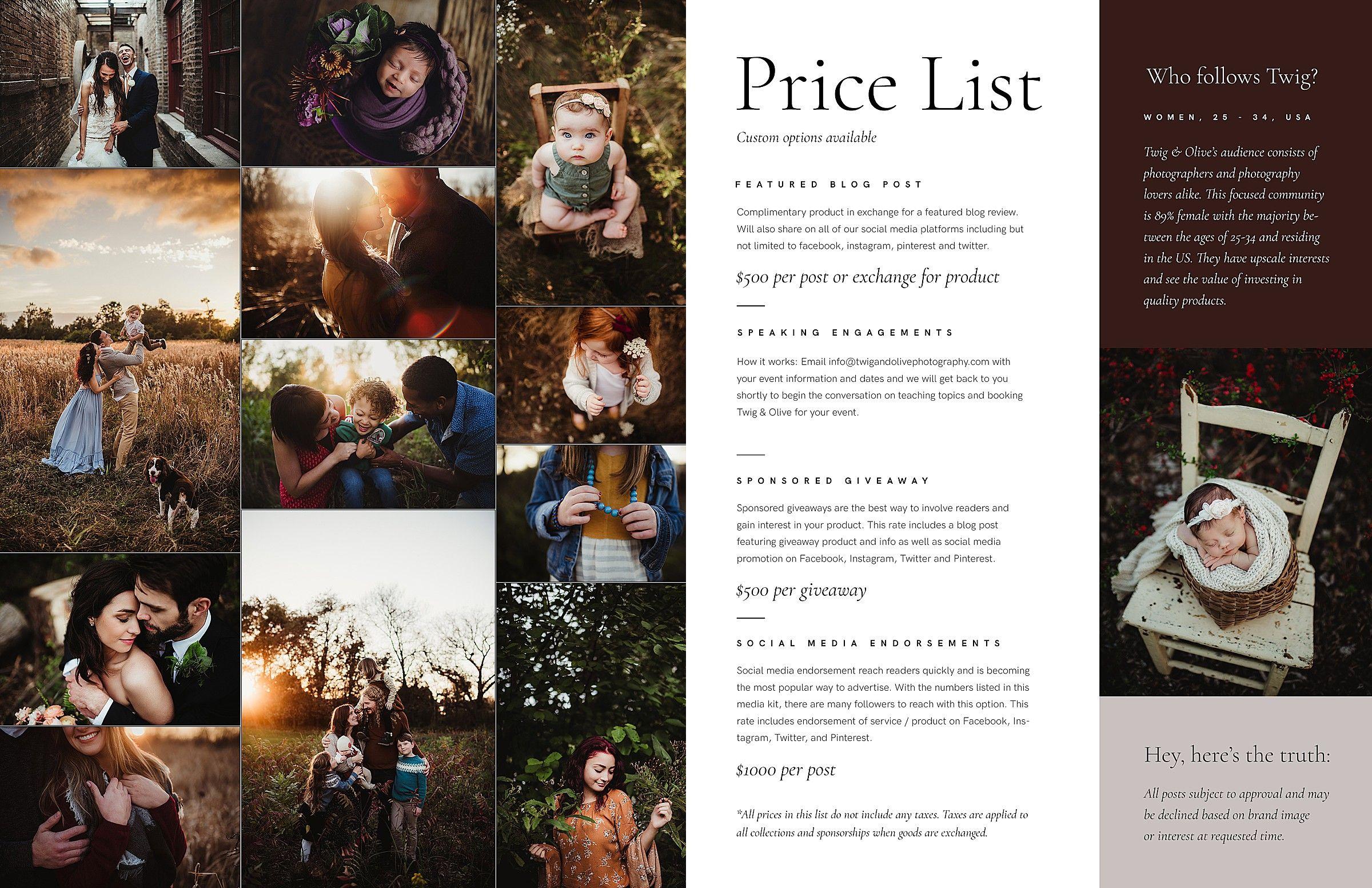 Speaking Pricelist Twig & Olive