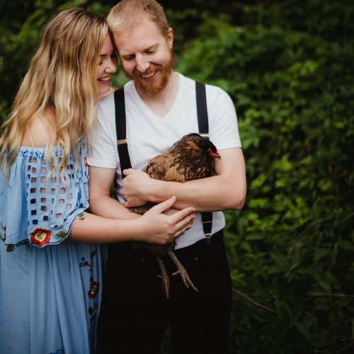 couple with chicken