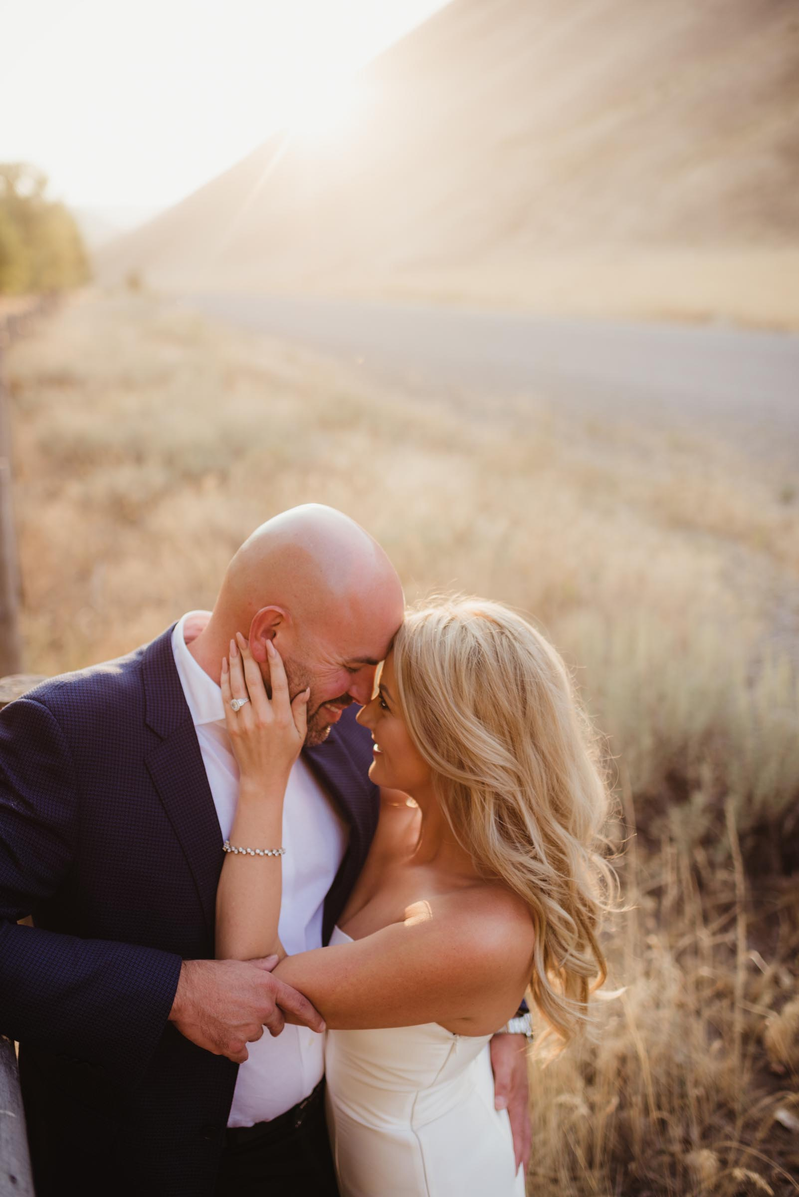 couple in fields of sun valley Idaho on wedding day