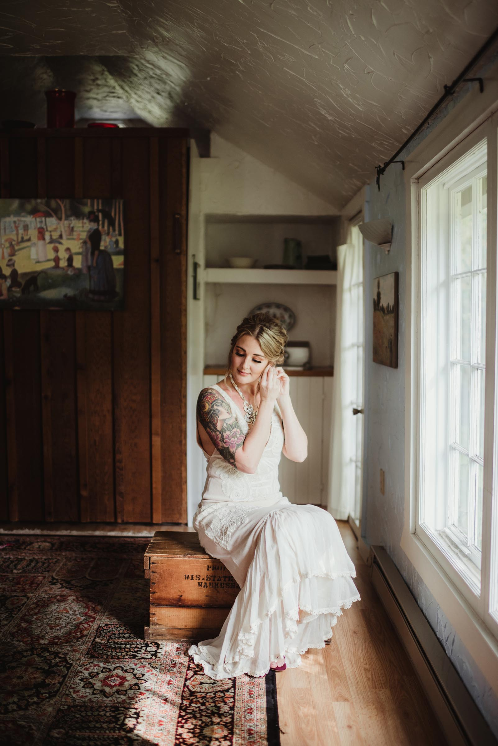 bride getting ready in old vintage house