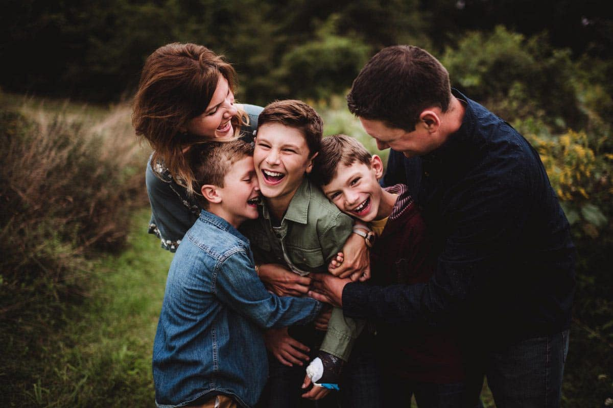 family playing together and laughing