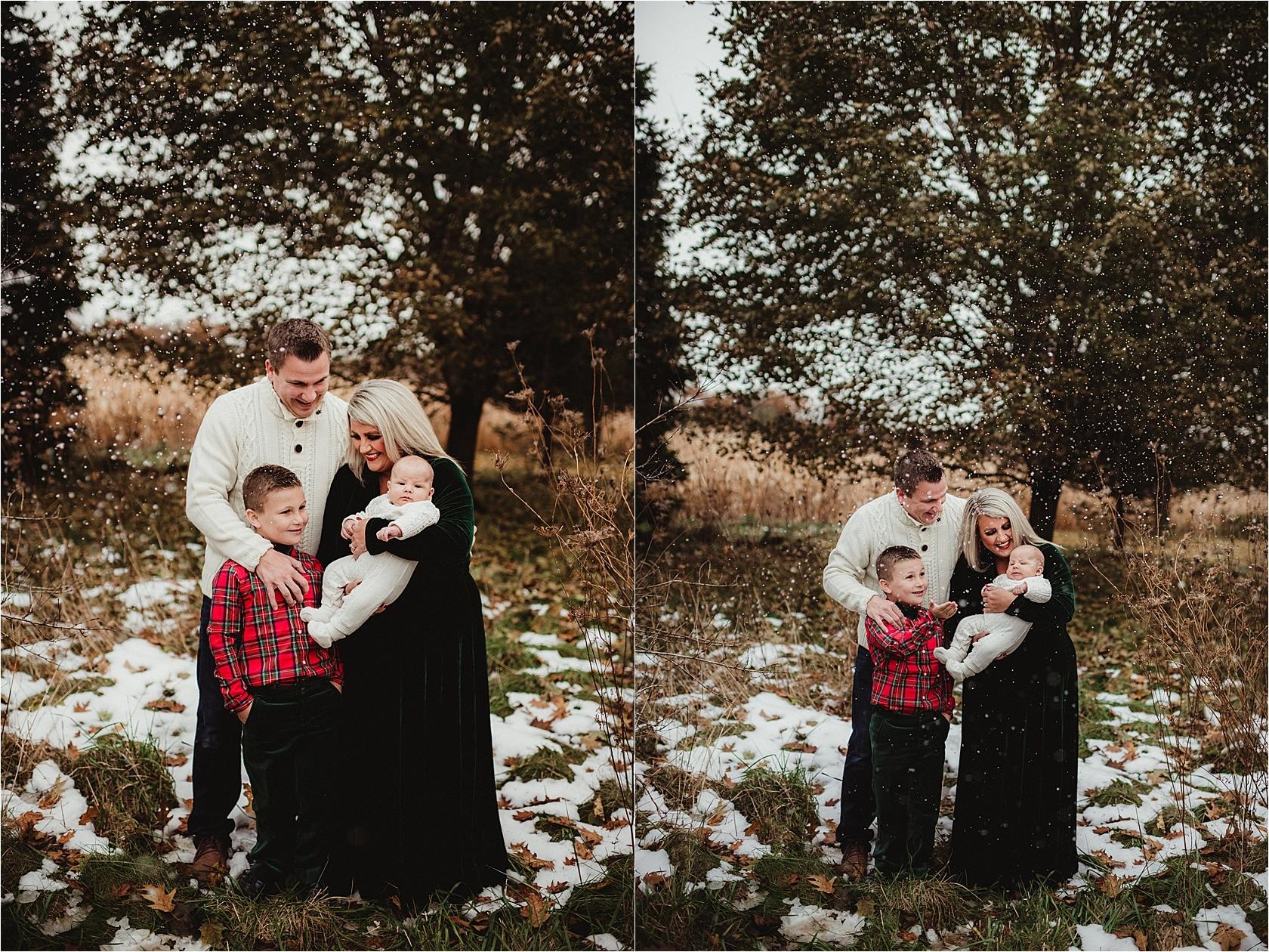 Family Mini Snow Session Family Snuggling