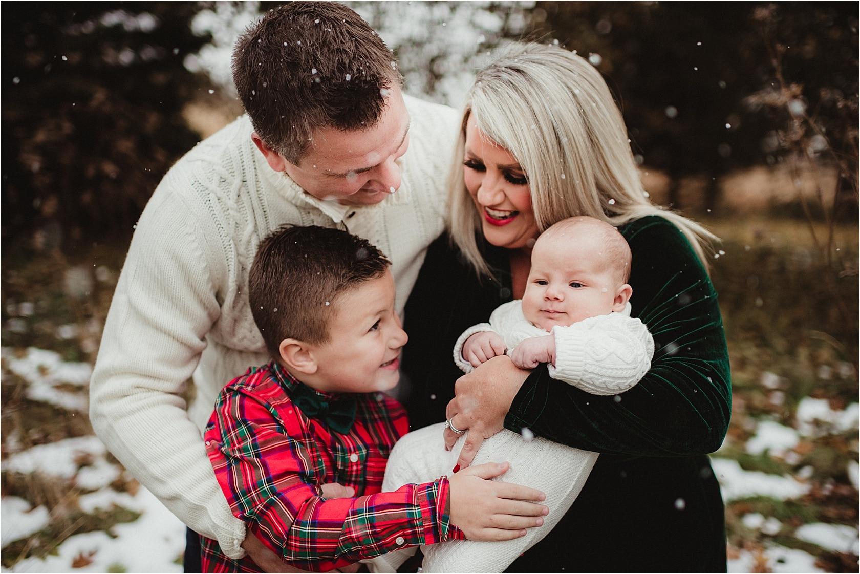 Family Mini Snow Session Family Hugging
