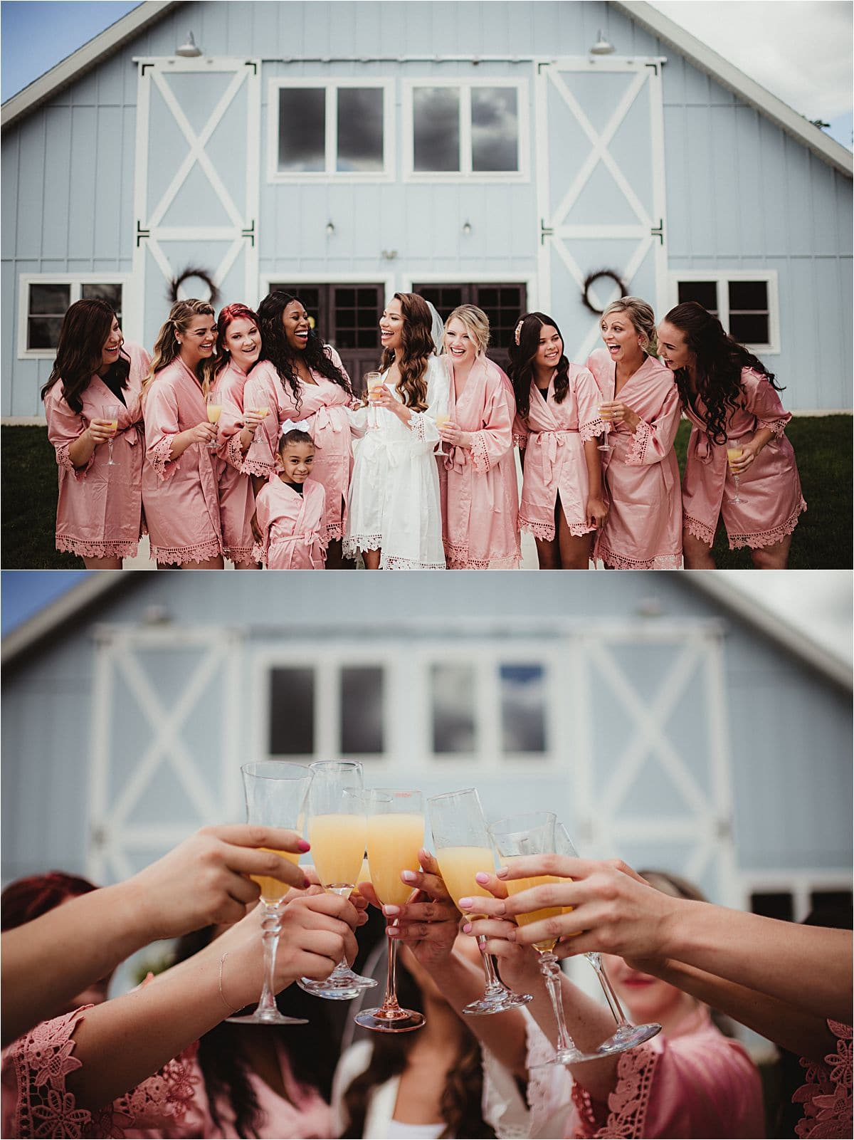 Bride and Bridesmaids Before Ceremony with Mimosas